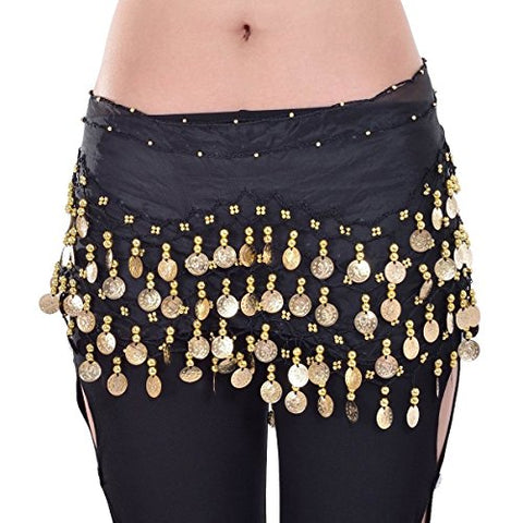 W&W Black Belly Dance Skirt Hip Scarf