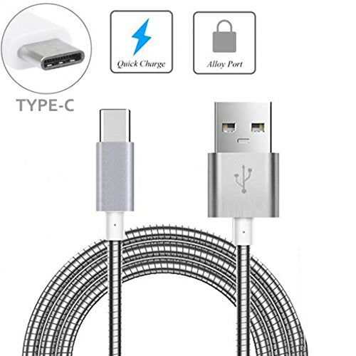 Durable Metal Braided USB Cable Type-C Sync Charger Power Wire USB-C Data  Cord [Silver] [Rapid Charge Support] for Sprint Samsung Galaxy S8+ -