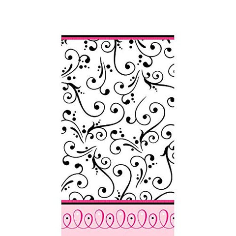 "Sweet Wedding Party Damask Table Cover, Plastic, 54"" x 102"""