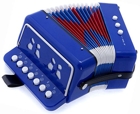 SKY Accordion Blue Color 7 Button 2 Bass Kid Music Instrument Easy to Play