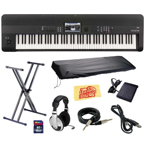 Korg KROME 88-Key Music Workstation Keyboard & Synthesizer Bundle with Keyboard Stand, SD Card, USB Cable, Instrument Cable, Dust Cover, Sustain Pedal, Headphones and Polishing Cloth