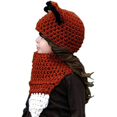 Fankeshi Kids Warm Winter Beanies Baby Knitted Coif Hood Scarf Animal Ear Hats Caps (Red Fox)