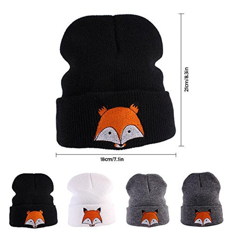 Pawaca Kids Winter Knitted Hat Soft Beanie Cap with Cute Fox Pattern for Baby Girls Boys