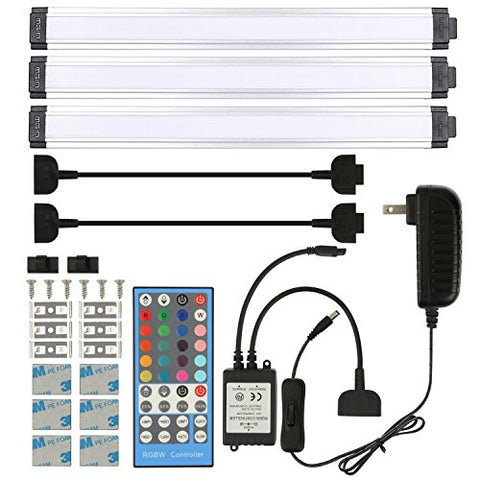 AIBOO Under Cabinet Lighting LED Rigid Bar Lights Wireless IR Remote Controller Plug in Cupboard Accent Lighting (3 Panels RGB + Day White)