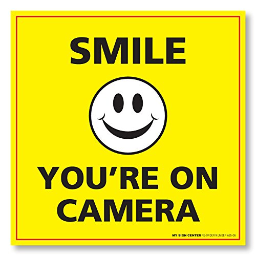 (4 Pack) Smile You're On Camera Sticker - Security Surveillance Camera Warning Sticker - Made in USA - UV Protected and Weatherproof - A85-06