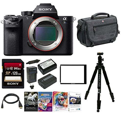 Sony Alpha a7SII Mirrorless Digital Camera w/ Laptop Storage Backpack & 128 GB Memory Card Bundle (Body Only) (ELIGIBLE FOR SONY TRADE-IN PROGRAM)