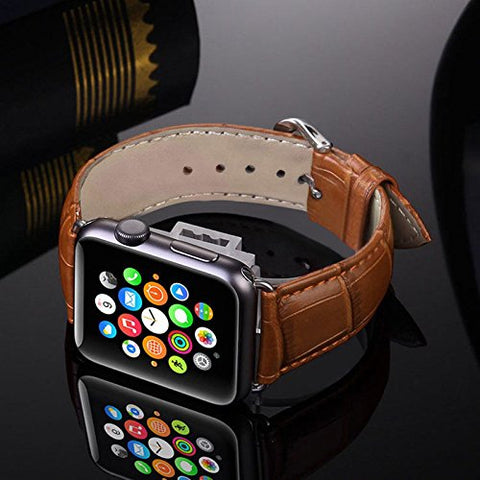 Alligator Leather Apple Watch Band 42mm Replacement i Watch Bands Men / Women of Silver Stainless Steel Buckle Clasp, [Light Brown] Crocodile Pattern Strap Series 3, 2 & 1 2016 & 2017 Sport Edition
