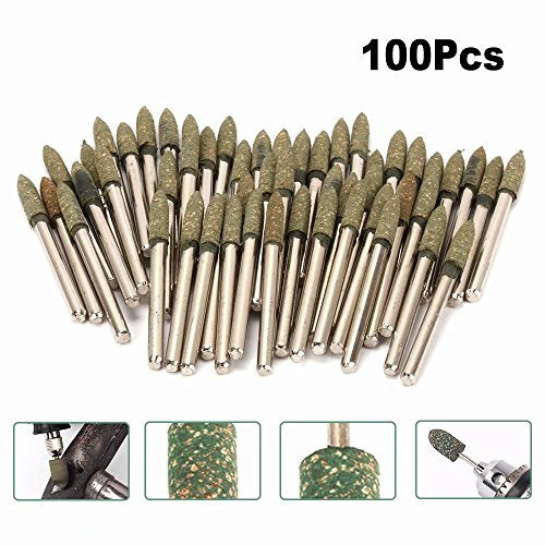 100Pcs 4mm Cone Sesame Rubber Polishing Head 3mm Shank Abrasive Grinding Burr Bit Rotary for Cleaning, Polishing Metals, Castings, Welded Joints and Rust