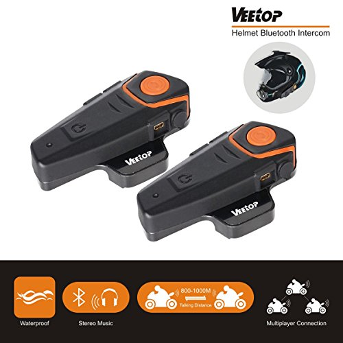 Bluetooth Motorcycle Helmet Headset Intercom, Veetop 1000M Water Resistant 2 or 3 Riders Bluetooth Motorcycle Motorbike Communication System for GPS/Walkie-Talkie, Hands Free & FM Radio(2 Pack)