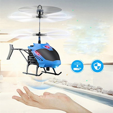 Flying Helicopter Toys,Hemlock Kids Flashing Lighting Plane Toys Boys Remote Controlled Aircrafts (Blue)