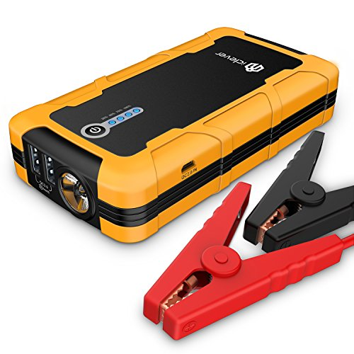 [Quick Charge In & Out] iClever 15000mAh Peak 600amp Portable Car Jump Starter BoostEngine External Power Bank with Multiple Protected Smart Clamp, 100 Lumen LED Light, Yellow