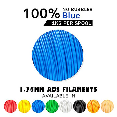 ABS Filaments Blue for 3D Printer-SUNLU ABS Filament 1.75 mm,Low Odor Dimensional Accuracy +/- 0.02 mm 3D Printing Filament,2.2 LBS (1KG) Spool 3D Printer Filament for Most 3D Printers & 3D Pens,Blue
