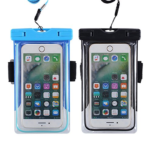 cheap for discount 21c4b 2a5ab Chamch Universal Waterproof Case,2 Pack IPX8 Phone Pouch Dry Bag With  Armband for iPhone 8/8 Plus/7/7 Plus/6S/6/6S Plus/SE/5S,Samsung Galaxy ...