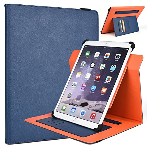 Kroo RCA 11 Galileo Pro (Tablet Unit Only) Rotating 2016 Tablet Cases | Ink Blue/Orange Portrait or Landscape Orientation 360 Stand Cover [Checkpoint Friendly]