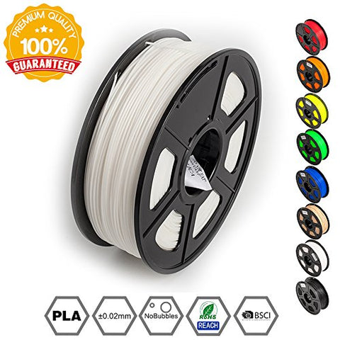 3D Printer Filament PLA White-PLA Filament 1.75 mm SUNLU,Low Odor Dimensional Accuracy +/- 0.02 mm 3D Printing Filament,2.2 LBS (1KG) Spool 3D Printer Filament for 3D Printers & 3D Pens,White