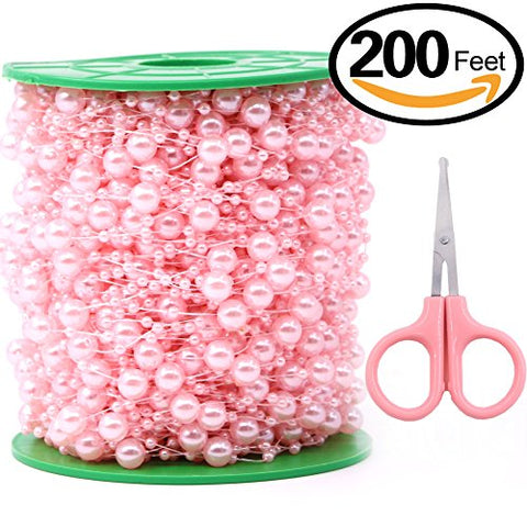 Swpeet 200 Feet Ivory Pearl Strands with Scissors, Large Pearls Faux Crystal Beads Pearl String Garland by the Roll Perfect for Wedding Party / Decoration / Party Supplies (Pink)