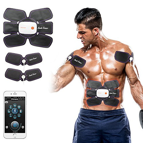 MiJiTec ABS Stimulator Rechargeable Abdominal Muscle Toner Ab Belt Ultimate Ab Stimulator Abdominal Trainer Body Training Workout Equipment for Home Office