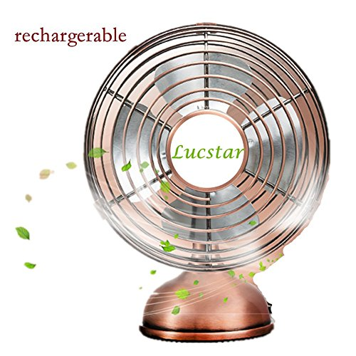 Lucstar Classic Retro Desk Fan USB Powered Battery, Elegance Pedestal Table desktop Artwork, Adjustable Wind Angle Ultra Silent Quiet for Office, Outdoor, Bedroom, Personal Portable Mini 4inch Fan