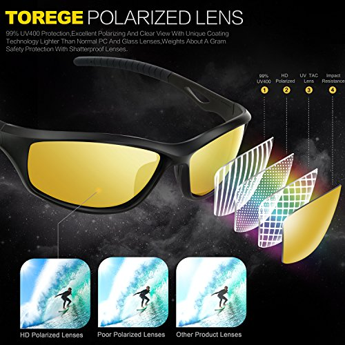 0218ebe44c Torege Polarized Sports Sunglasses For Men Women For Cycling Running  Fishing Golf TR90 Unbreakable Frame TR010