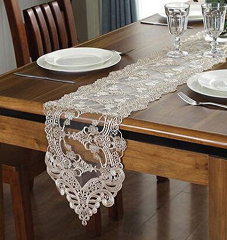 "WSHINE Lace Table Runner And Dresser Scarf Embroidered Flower Tablecloth Party Home Decor Supplies (champion, 10.2""47.2"")"