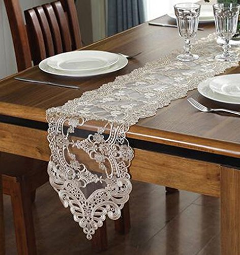 "WSHINE Lace Table Runner And Dresser Scarf Embroidered Flower Tablecloth Party Home Decor Supplies (champion, 10.2""59.1"")"