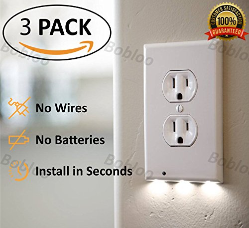 Outlet Wall Plate With Led Night Lights 3 Packs No Wires Or