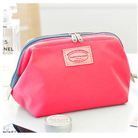 Zipper Organizer Cosmetic Bag Women Waterproof Wash Bags Metal Frame Storage Bags Travel Kit Shell bag Lady MakeUp Bag Multifunction Toiletry Bathroom Makeup Pouch Brush Pouch Change Purse (Plum red)