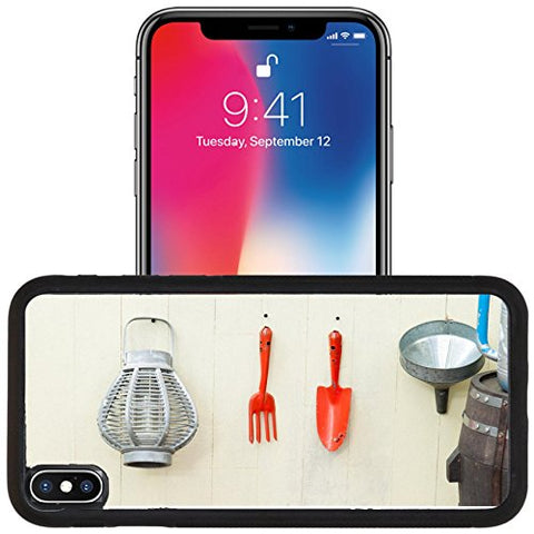 Luxlady Apple iPhone x iPhone 10 Aluminum Backplate Bumper Snap Case IMAGE ID 31182657 Garden tools hanging and watering can on shed door with vintage feel