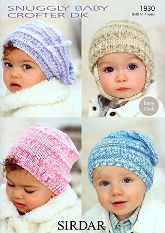Sirdar Snuggly Baby Crofter DK Baby's and Child's Hats Knitting Pattern 1930