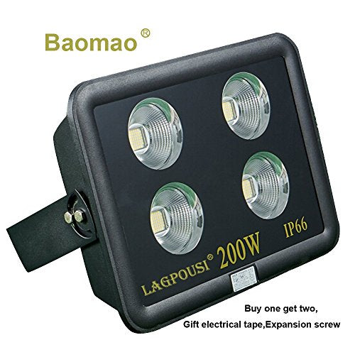 Baomao 200W Super Bright Outdoor LED Spotlight,1000W Halogen Bulb Equivalent, Waterproof IP66 20000lm,OSRAM LED Chip,Angle of 60 degrees,6000K white,Garden lights.Flood light ,floodlight