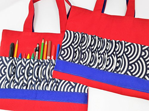 Crayon Art Bag Coloring Book Holder with 12 Slots for Markers, Pencils, Gel  Pens Canvas Travel Restaurant Craft Kit Kids (Red)
