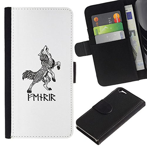 Planetar Colorful Pattern Flip Wallet Leather Holster Protective Skin Case Cover Apple (4.7 inches!!!) iPhone 6 / 6S ( Celtic Viking Wolf White Black Ink Tattoo )