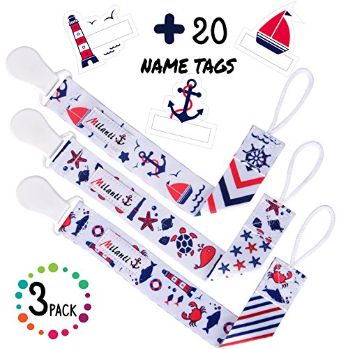 Pacifier Clip For Boys Pack Of 3 By Milanti 20 Name Tags Labels