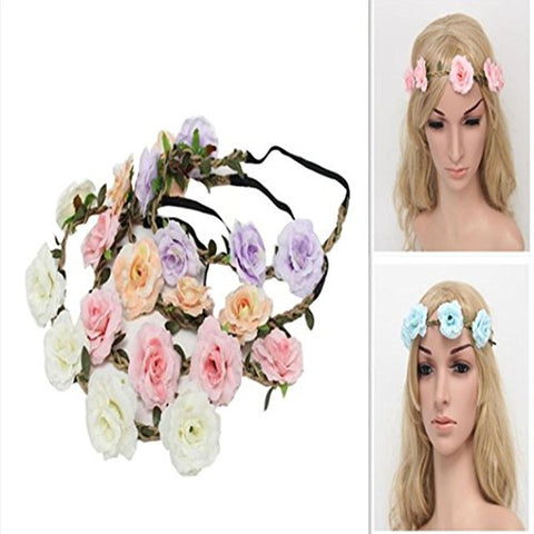 PHOTNO New Style Floral Flower Party Wedding Hair Wreaths Headband Hair Band (Red)