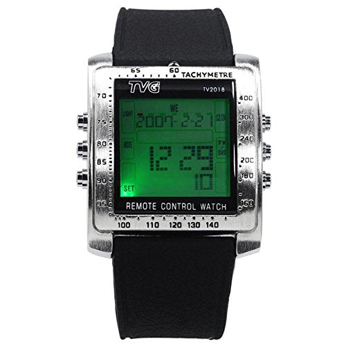 TVG Led Digital Watches Mens Fashion Rubber Strap Square Watch Men TV Remote Control (silver)
