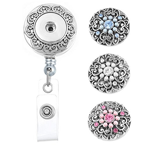Souarts Retractable Badge Reel Clip On Card Holder with 3pcs Round Flower DIY Snaps Buttons Charms