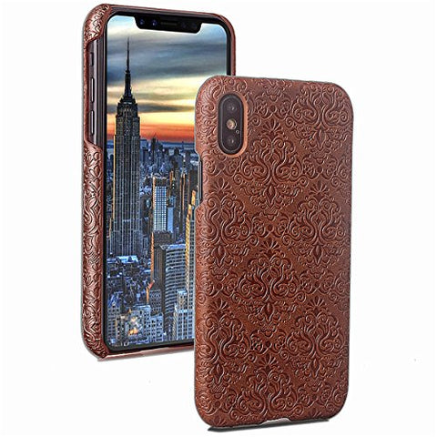 AICEDA iPhone X Case,iPhone X Case,Boys Premium PU Leather Wallet Snap Case Boys Boys Flip Cover for iPhone X Brown