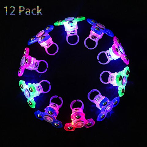 Mikulala Light Up Rings Fidget Toys For Kids (12 Pack) Novelty Child Glow In The Dark Party Favors Bulk Flashing Led Kid Prizes, Fun Gifts for Graduation Party Supplies, Kids Party