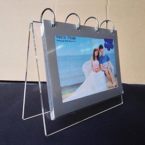 "leoyoubei Clear Acrylic Sided Frames desktop Display Holder with Vertical Stand and 4mm thicker Menu Holders,PVC Photo clip 7 shows 14 photos photography studio/Album (""V""-4x6"")"