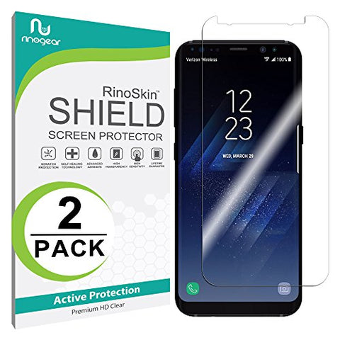 [2-PACK] Galaxy S8 Screen Protector (Edge-to-Edge) [Military-Grade] RinoGear Premium HD Invisible Clear Shield Anti-Bubble