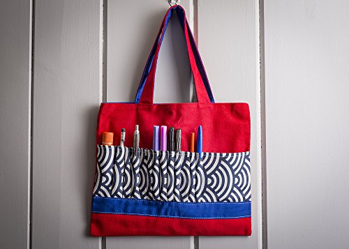 Crayon Art Bag Coloring Book Holder With 12 Slots For Markers Pencils Gel Pens