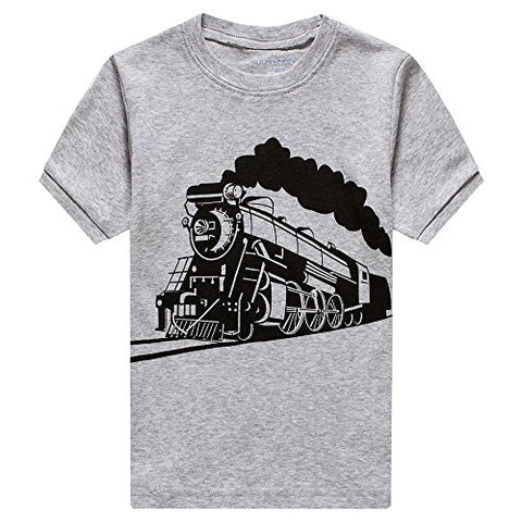 Poptem Boys Pajamas Cotton PJS Truck Clothing Sets Short Sleeve T-Shirt Kids Toddler Summer 2 Piece Short Set