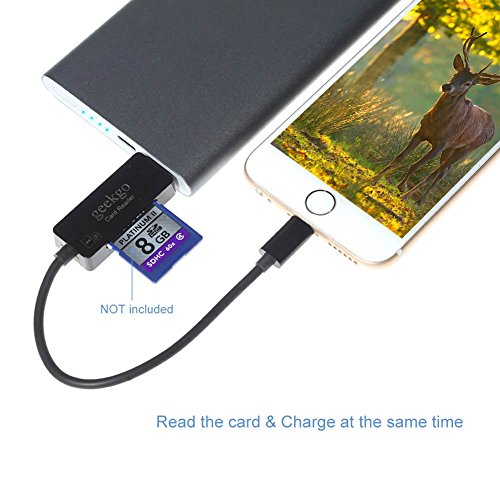 Geekgo USB & Lightning SD Card Reader for Apple iPhone iPad,Memory Micro SD Card Adapter for iOS Device,Deer or Other Wildlife Hunting Trail Cams Game Camera Viewer