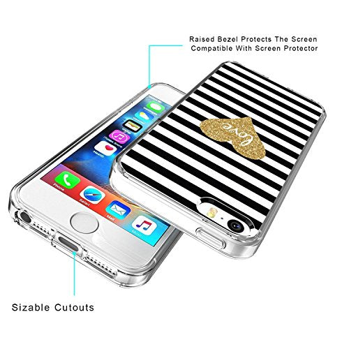 the best attitude d9a5a 657a0 Gold love iPhone 5 5s Case, Shockproof Protective Transparent iPhone SE  Case with Unique Design Slime Thin Ultra light Clear Bumper Silicone Case  ...