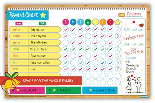 Chore Chart For Kids Use Dry Erase Markers Set Weekly Goal Reward