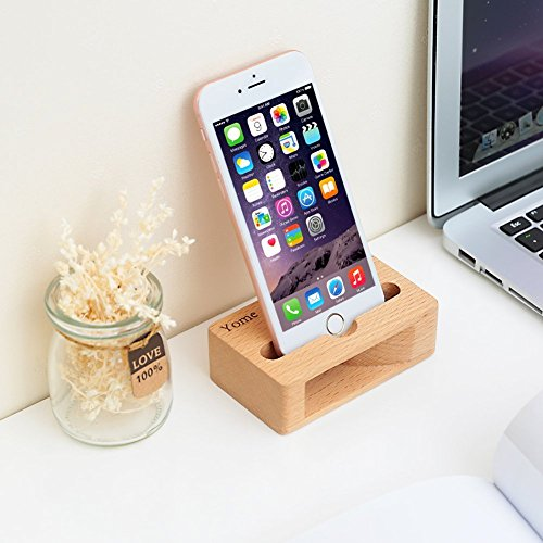 83409d8971c9ee Cell Phone Stand with Sound Amplifier, Yome iPhone Stand Holder Bamboo Wood  Phone Dock,
