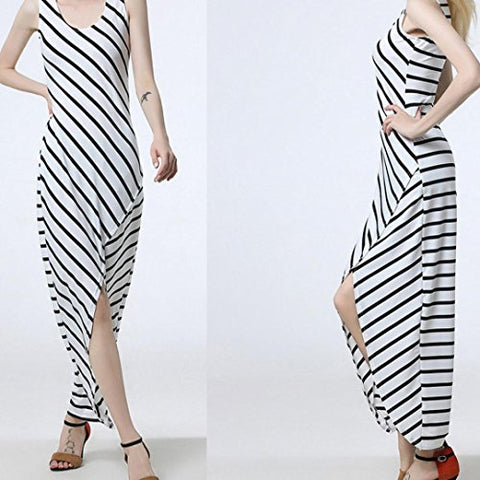 Women Ladies Dress Sundress Sleeveless Sexy Striped Loose Split Long Beach Dress (White, S)