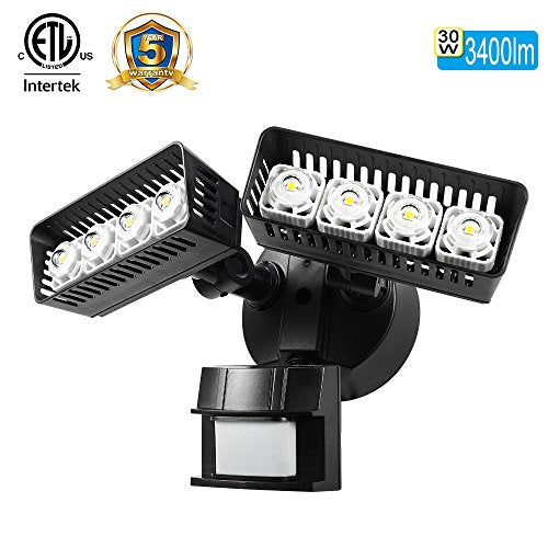 SANSI LED Security Motion Sensor Outdoor Lights, 30W (250W Incandescent  Equivalent) 3400lm, 5000K Daylight, Waterproof ETL-listed Floodlights, Black