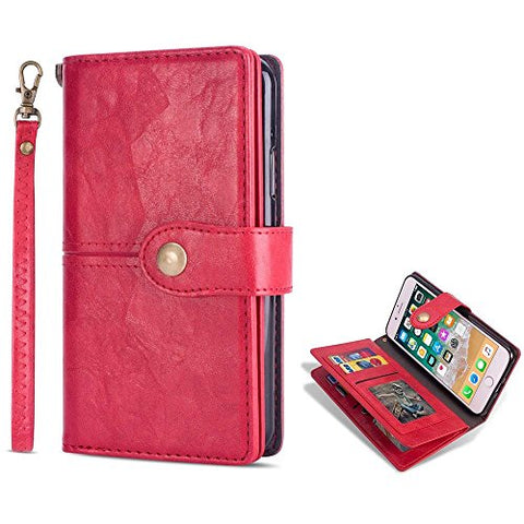 for iPhone 6 Case iPhone 6S Wallet Case LAPOPNUT Vintage Wallet PU Leather Flip Case Dual Folio Card Holder Housing with Wrist Hand Strap Magnetic Lock Kickstand Case Book Cover, Red