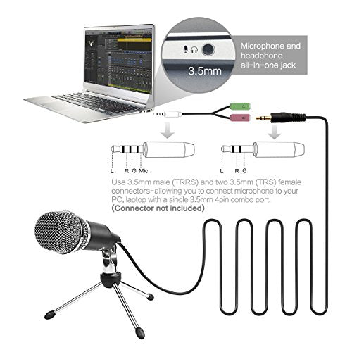 Microphone Condenser 3 5mm Fifine Plug and Play Microphones For Computer PC  Online Chat,Omnidirectional Microphone For Skype,YouTube,Google Voice